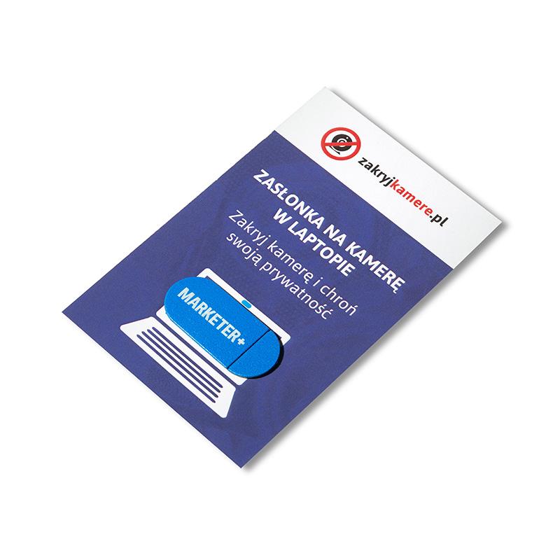 Zasłona kamery laptopa Marketer+ niebieska z białym logotypem
